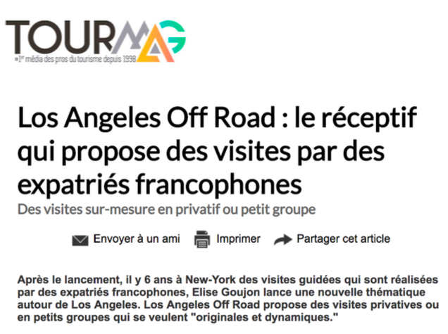 Los Angeles Off Road dans Tour Mag